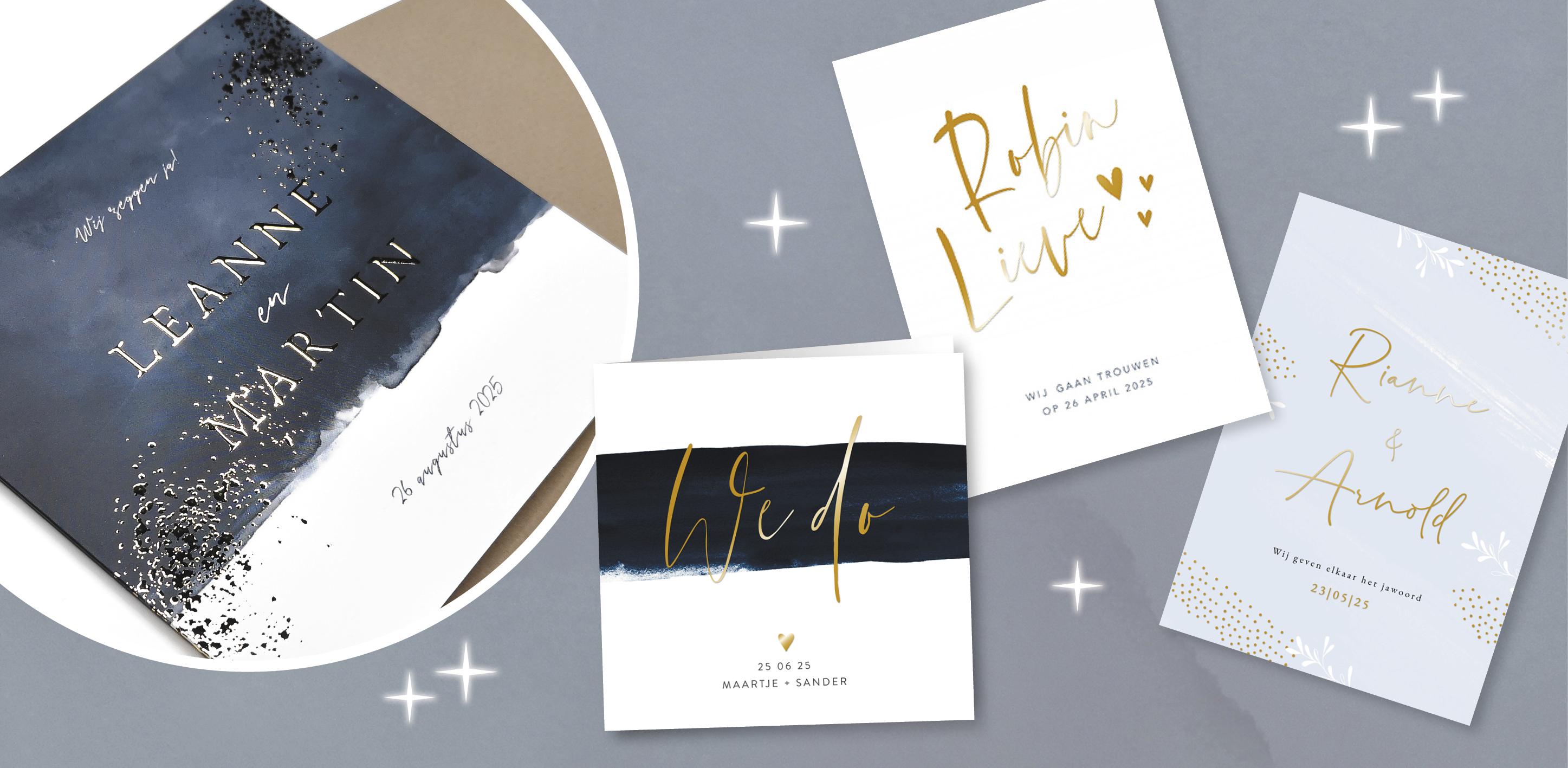 Goudfolie op jullie trouwkaart: de trend van 2020